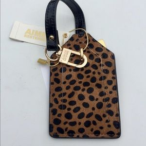 AIMEE KESTENBERG LEATHER  CHEETAH LUGGAGE TAG NWT